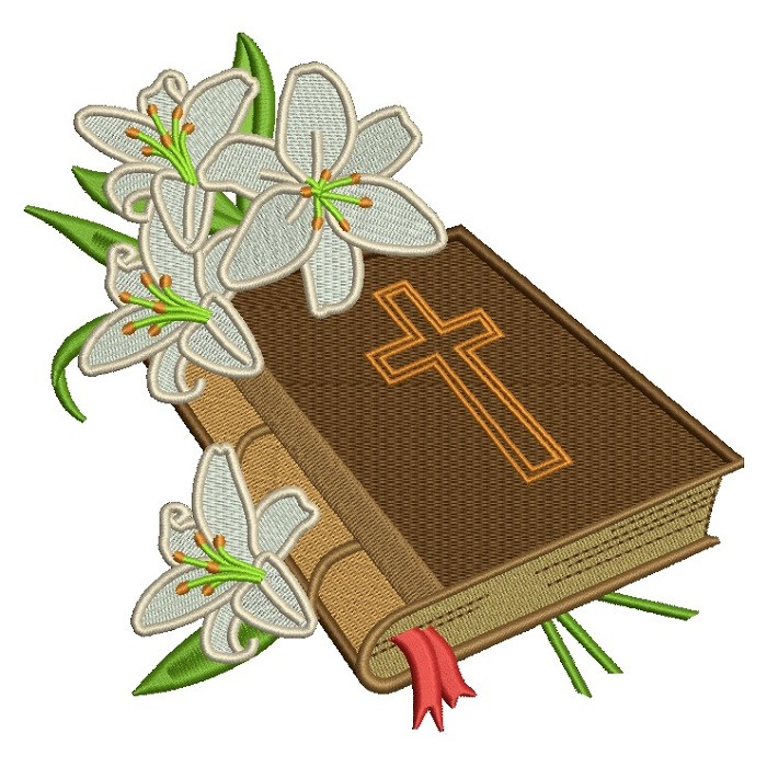 Bible With Beautiful Flowers Religious Filled Machine Embroidery Design Digitized Pattern