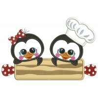 Boy and a Girl Penguins Cooks Applique Machine Embroidery Design Digitized Pattern