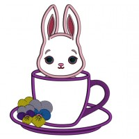 Bunny Sitting Inside Tea Cup Easter Applique Machine Embroidery Design Digitized Pattern