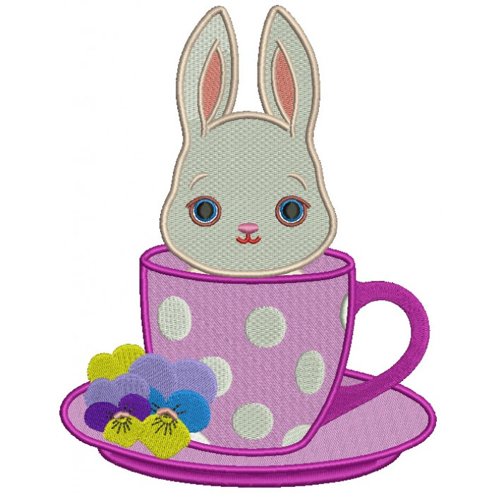 Bunny Sitting Inside Tea Cup Easter Filled Machine Embroidery Design Digitized Pattern