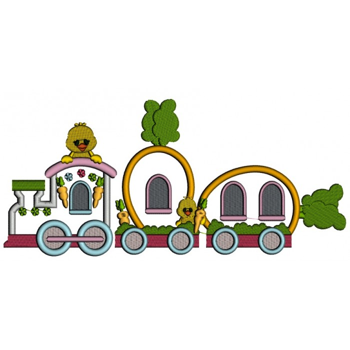 Carrot Easter Train With Little Chicks Applique Machine Embroidery
