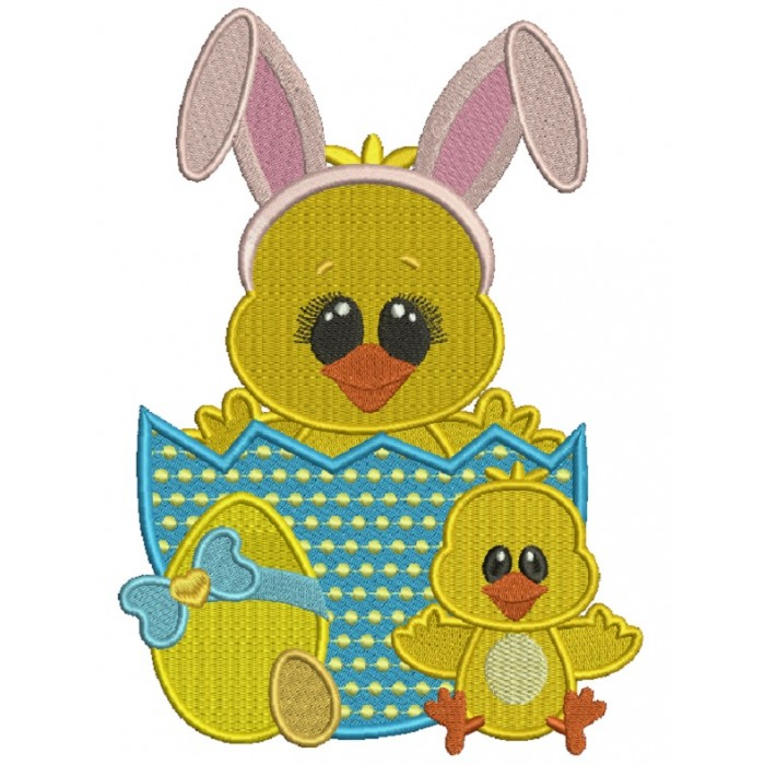 Chick With Big Bunny Ears Sitting Inside Easter Egg Filled Machine Embroidery Design Digitized Pattern