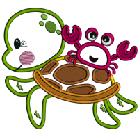 Crab Sitting On The Turtle Applique Machine Embroidery Design Digitized Pattern