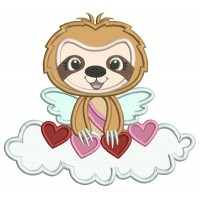 Cute Angel Sloth On The Cloud With Hearts Applique Valentine's Day Machine Embroidery Design Digitized Pattern