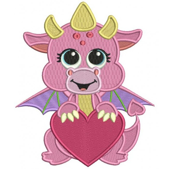 Cute Baby Dragon With A Big Heart Filled Machine Embroidery Design Digitized Pattern
