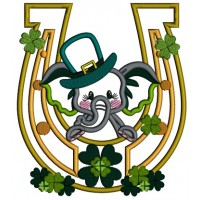 Cute Baby Elephant Behind a Lucky Horseshoe St. Patrick's Applique Machine Embroidery Design Digitized Pattern