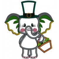 Cute Baby Elephant Holding Basket And Wearing Tall St. Patrick's Hat Applique Machine Embroidery Design Digitized Pattern