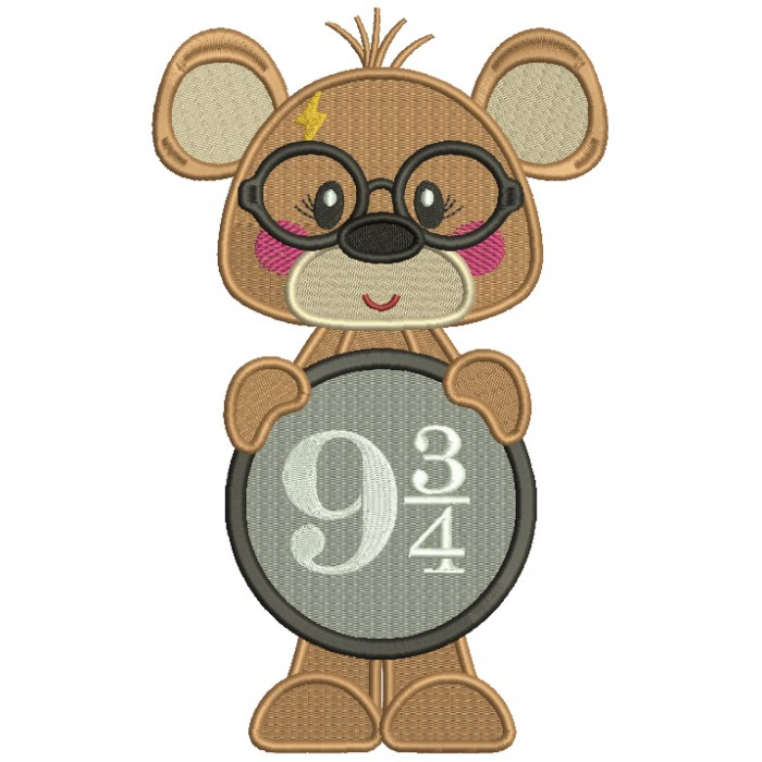 Cute Bear Looks Like Harry Potter Holding Sign With Platform Nine and Three Quarters Filled Machine Embroidery Design Digitized Pattern