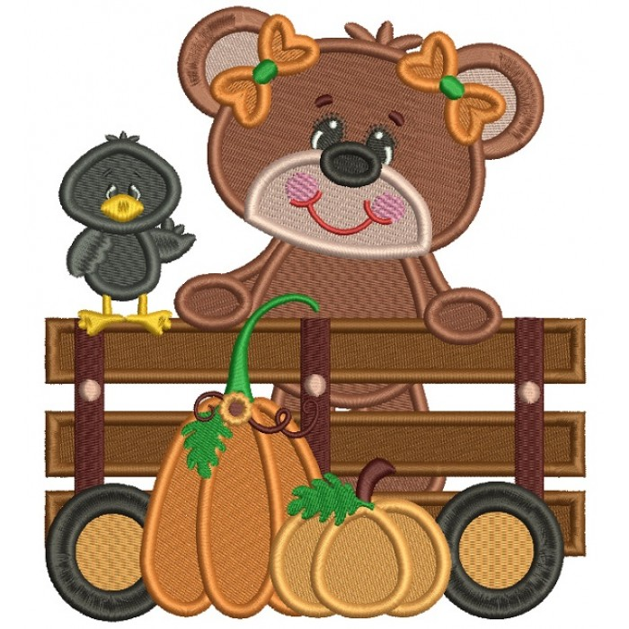 Cute Bear and Crow With Pumpkins Filled Machine Embroidery Design Digitized Pattern
