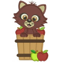 Cute Cat Sitting Inside Baskets With Apples Fall Applique Thanksgiving Machine Embroidery Design Digitized Pattern