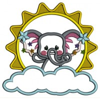 Cute Elephant On a CLoud And Big Sun Applique Machine Embroidery Design Digitized Pattern