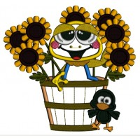 Cute Frog Sitting In The Pot With Sunflowers Fall Applique Machine Embroidery Design Digitized Pattern
