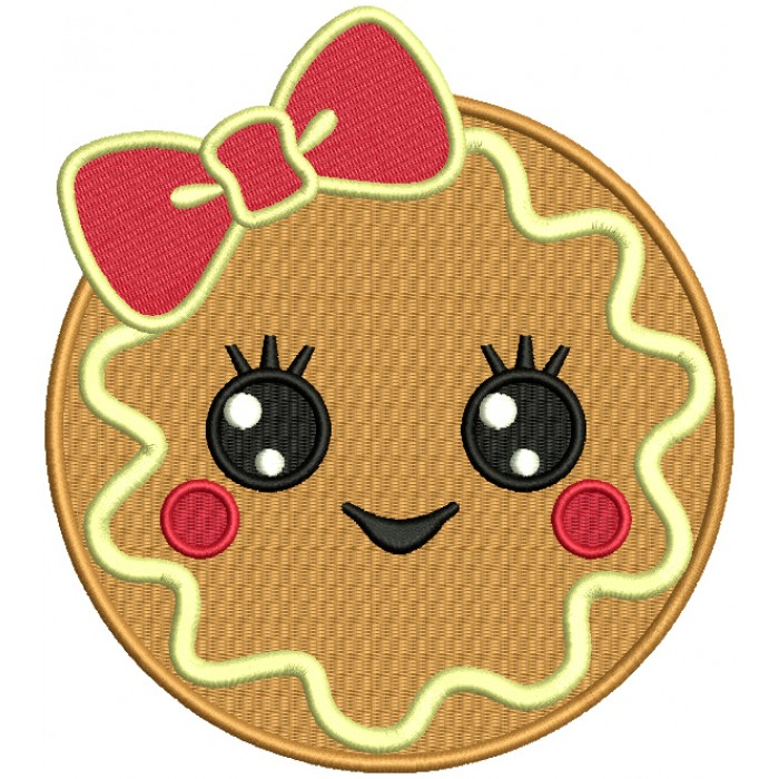 Cute Girl Cookie With a Huge Bow Filled Machine Embroidery Design Digitized Pattern