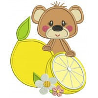 Cute Little Bear Holding a Lemon Applique Machine Embroidery Design Digitized Pattern
