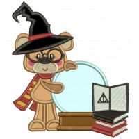 Cute Little Bear Wearing Hagwort's Hat And Gryffindor Scarf Applique Machine Embroidery Design Digitized Pattern