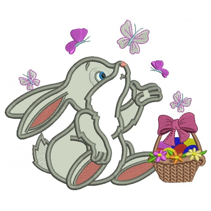 Cute Little Bunny Catching Butterflies Easter Applique Machine Embroidery Design Digitized Pattern