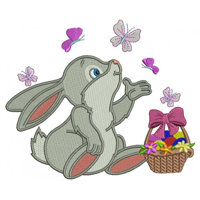 Cute Little Bunny Catching Butterflies Easter Filled Machine Embroidery Design Digitized Pattern