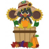 Cute Little Crow Sitting Inside Sitting Inside a Basket With Sunflowers Fall Applique Thanksgiving Machine Embroidery Design Digitized Pattern