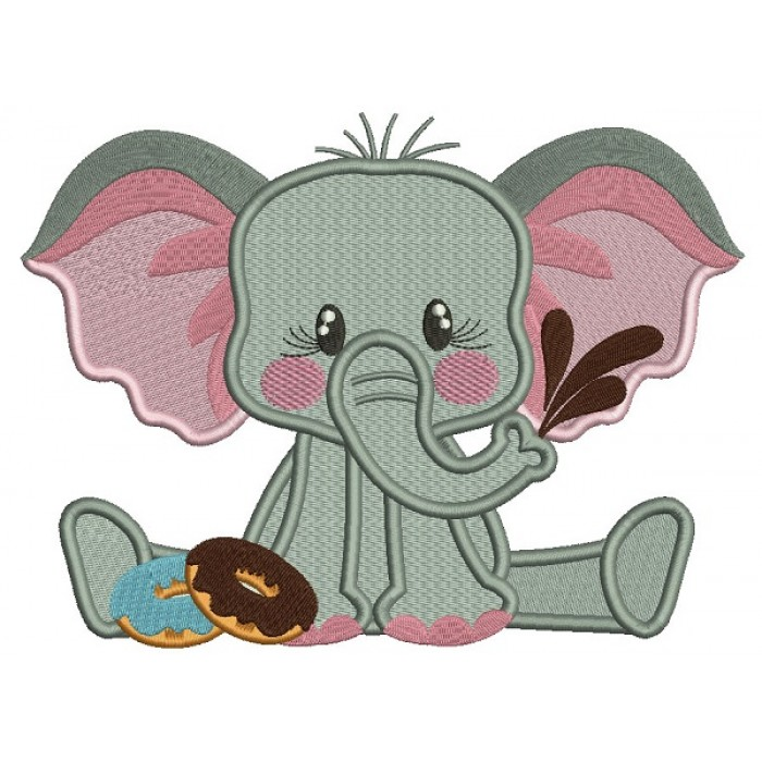 Cute Little Elephant Eating Donuts Filled Machine Embroidery Design Digitized Pattern