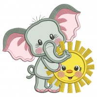 Cute Little Elephant Holding The Sun Applique Machine Embroidery Design Digitized