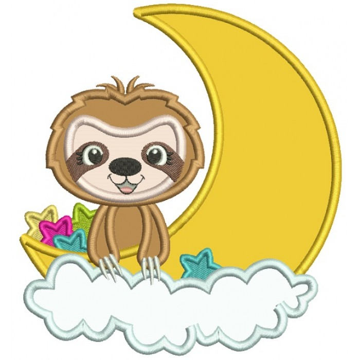 Cute Little Mongoose Sitting On The Moon Applique Machine Embroidery Design Digitized Pattern