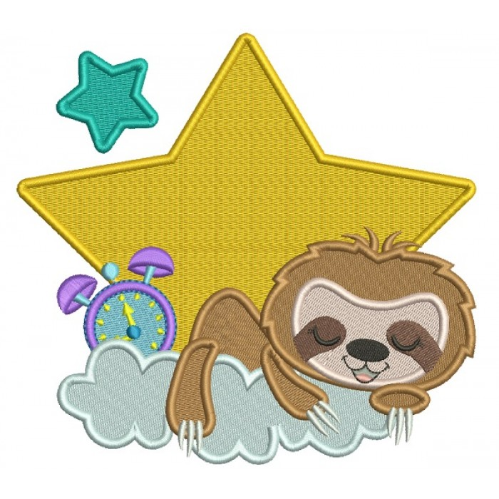 Cute Little Sloth One THe Cloud Filled Machine Embroidery Design Digitized Pattern
