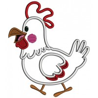 Cute Little White Rooster Applique Machine Embroidery Digitized Design Pattern