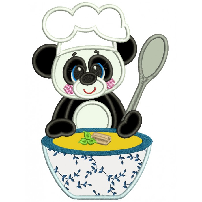 Cute Panda Cooking Soup Applique Machine Embroidery Design Digitized Pattern