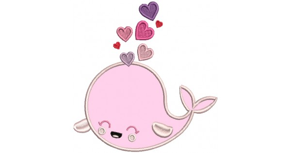 Cute whale with hearts applique machine embroidery design