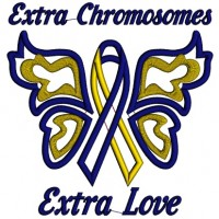 Extra Chromosome Extra Love Down Syndrome Awareness Applique Machine Embroidery Design Digitized Pattern