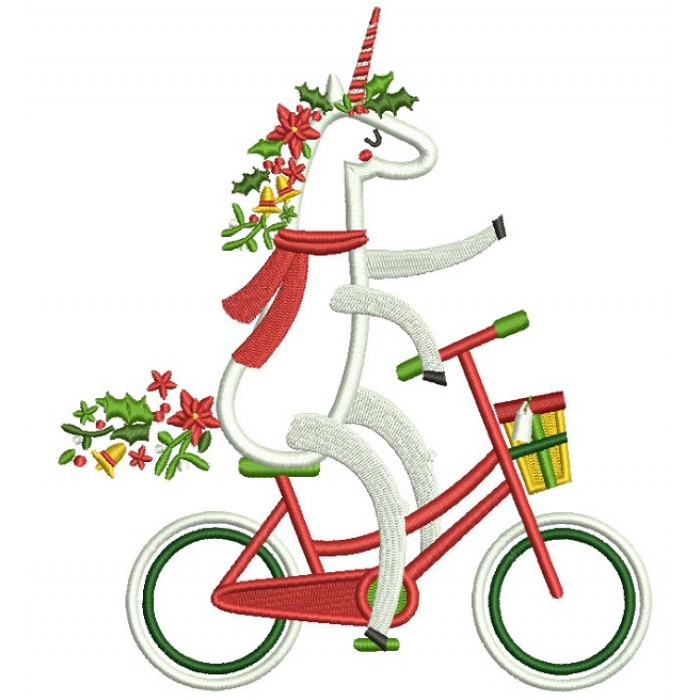 festive unicorn riding a bike applique machine embroidery design