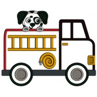 Firetruck And a Dog Applique Machine Embroidery Design Digitized Pattern