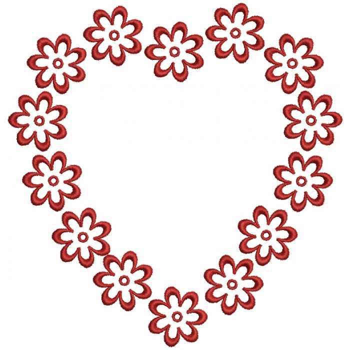 Flower Hearts Love Filled Machine Embroidery Design Digitized Pattern