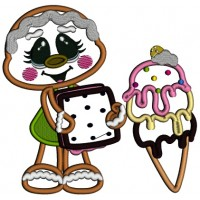 Gingerbread Girl Holding Ice Cream Applique Machine Embroidery Digitized Design Pattern