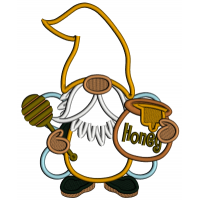 Gnome Bee With Honey Applique Machine Embroidery Design Digitized Pattern