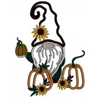Gnome Holding Halloween Pumpkin With Flowers Applique Machine Embroidery Design Digitized Pattern