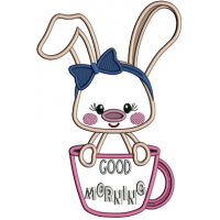 Good Morning Cute Little Bunny Applique Machine Embroidery Design Digitized Pattern
