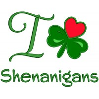 I Love Shamrock Shenanigans Applique St. Patrick's Day Machine Embroidery Design Digitized Pattern