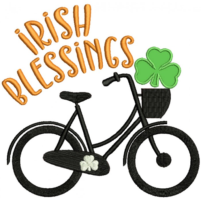 Irish Blessings Bicycle With Shamrock St. Patrick's Day Applique Machine Embroidery Design Digitized Pattern