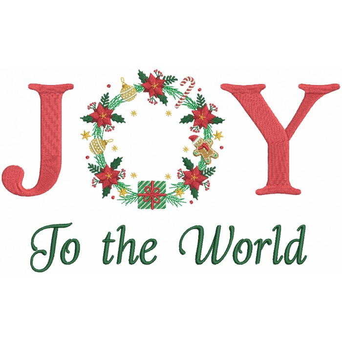 JOY To The World Christmas Wreath Filled Machine Embroidery Design Digitized Pattern