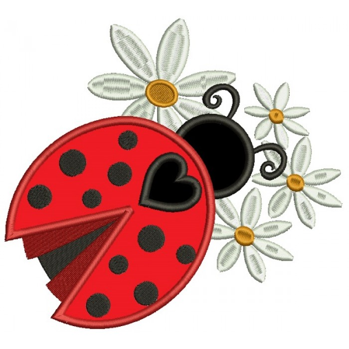 Ladybug With Flowers Applique Machine Embroidery Design Digitized Pattern