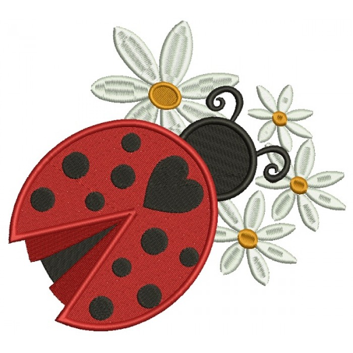 Ladybug With Flowers Filled Machine Embroidery Design Digitized Pattern