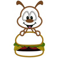 Little Ant Holding a Hamburger Applique Machine Embroidery Digitized Design Pattern
