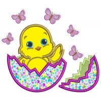 Little Baby Chick Hatching from the Egg Easter Applique Machine Embroidery Design Digitized Pattern