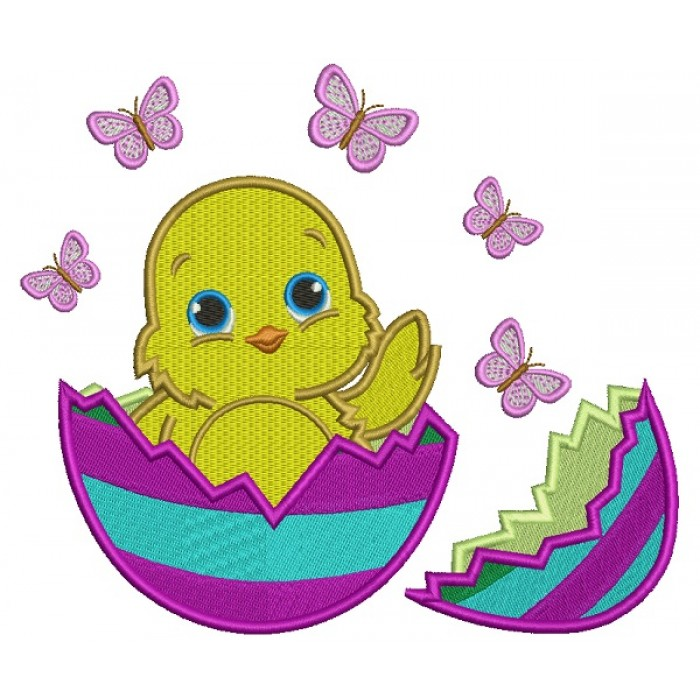 Little Baby Chick Hatching from the Egg Easter Filled Machine Embroidery Design Digitized Pattern