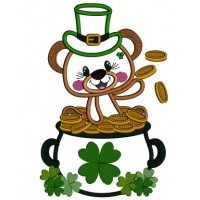 Little Bear Sitting In The Pot Full Of Gold St. Patrick's Applique Machine Embroidery Design Digitized Pattern