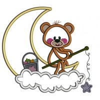 Little Bear Sitting On The Moon Applique Machine Embroidery Design Digitized Pattern