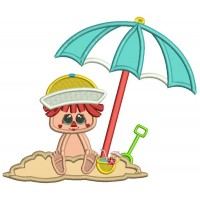 Little Boy On The Beach Sitting In The Sand Summer Applique Machine Embroidery Design Digitized Pattern