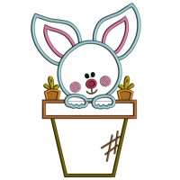 Little Bunny Inside a Flower Pot Easter Applique Machine Embroidery Design Digitized Pattern