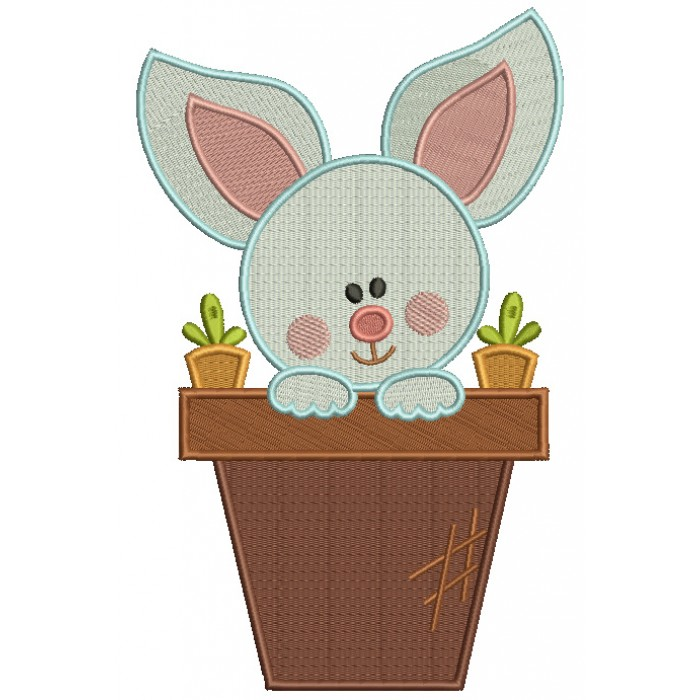 Little Bunny Inside a Flower Pot Easter Filled Machine Embroidery Design Digitized Pattern